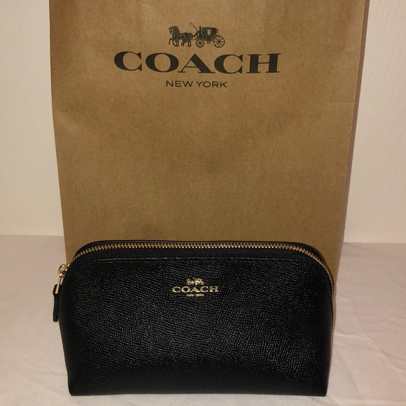 Coach Accessories - NWT COACH Black Leather Cosmetic Case